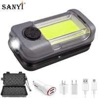 Luz de trabajo magnética, linterna LED COB roja blanca, linterna portátil, luz de trabajo USB, Lámpara de trabajo recargable, luces de emergencia