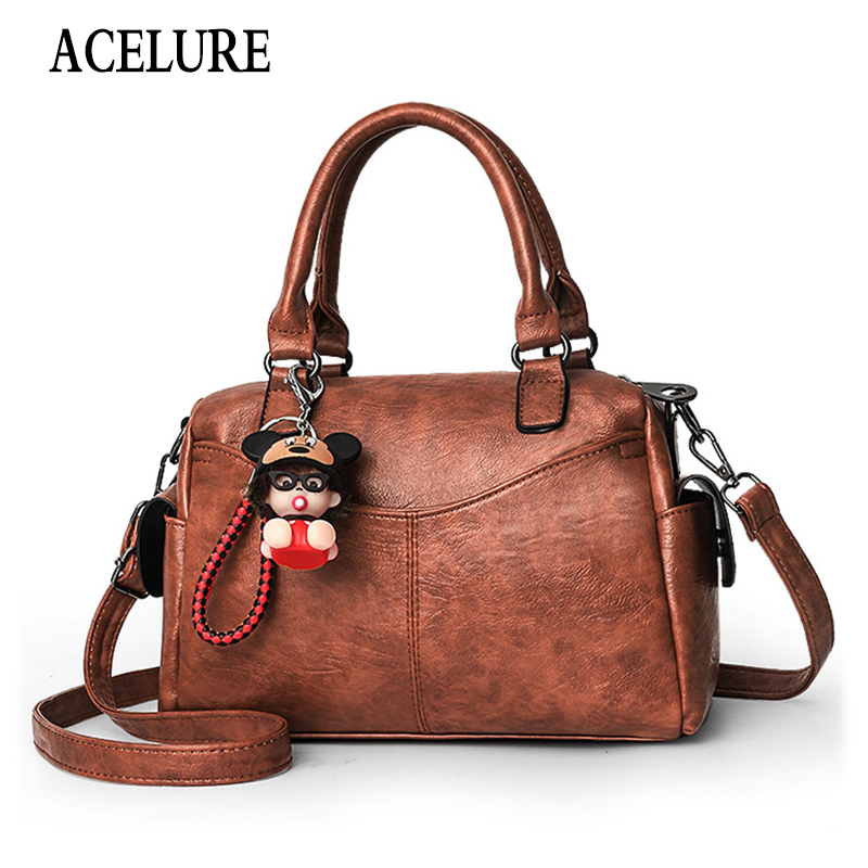 ACELURE Large Capacity Soft PU Leather Women Pillow Shoulder Bags Solid Fashion Designer Brand Crossbody Bags Shopping Handbags