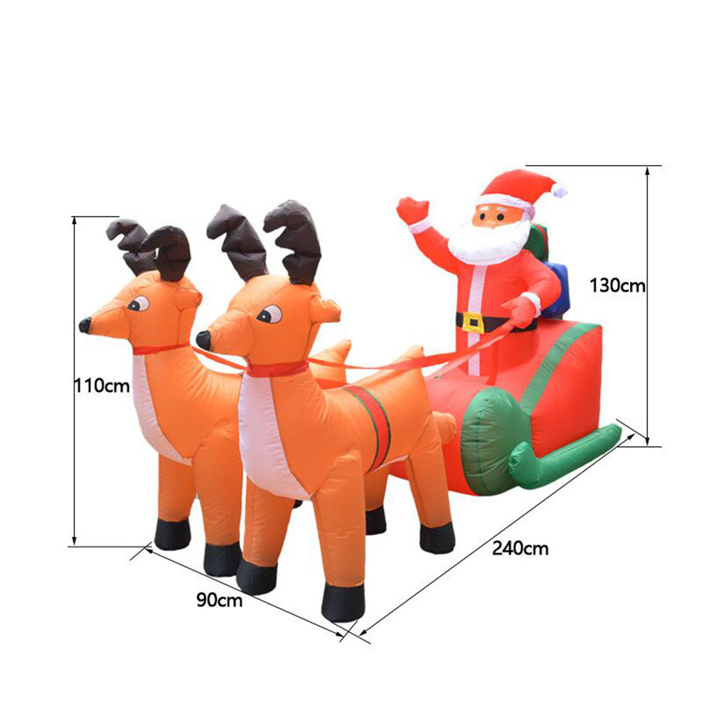 Рождественская надувная тележка с оленем, Рождественская двойная тележка с оленем, Санта Клаус, рождественское платье, украшения, добро пожаловать, реквизит - 6