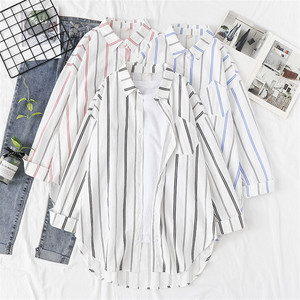 Women Blouses Shirts Tunic Womens Tops And Blouses 2020 Womenswear Long Sleeve Clothing Button Up Down Striped New Fashion Good