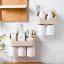 2/3 Cups Toothbrush Holders Creative Wall-Mounted Magnetic Suction Cup Dust-Proof Bathroom Multifunction Cosmetic Storage Racks