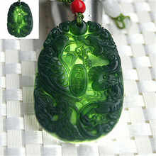 Fashion Necklace green dragon pendant charm carved and Hand natural phoenix black(China)