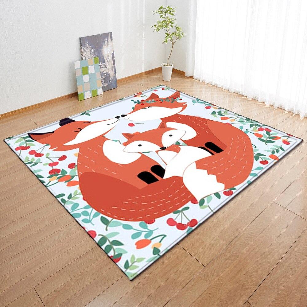 Цветные Мультяшные животные лиса Фламинго 3D ковры с принтом для гостиной спальни коврик для детской домашнего декора ковер для детской ком...