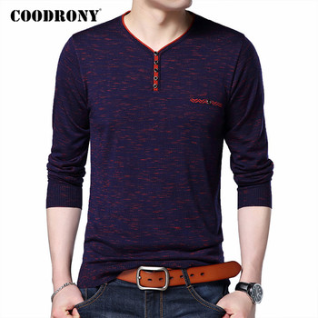 COODRONY Sweater Men Spring Autumn Pull Homme Knitwear Cotton Wool Pullover Men Streetwear Fashion Button V-Neck Sweaters C1050 coodrony brand wool sweater men streetwear fashion striped pull homme spring autumn casual knitwear v neck pullover shirts c1089