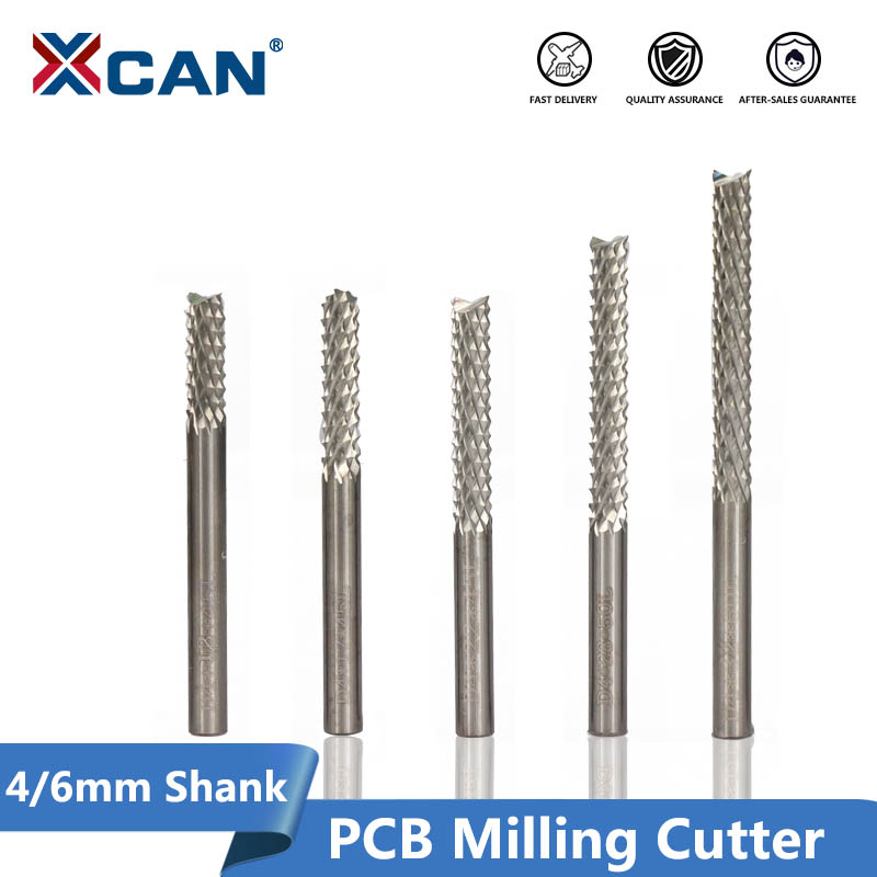 XCAN 1pc 4mm 6mm Shank Tungsten Carbide  End Mills PCB Corn Milling Cutter CNC Router Bits For PCB Engraving Machine Milling Bit