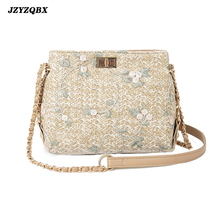 Vintage Women Rattan Bag Womens Straw Handmade Weaving Shells Bags Bohemian Bud Silk Embroidered Beach
