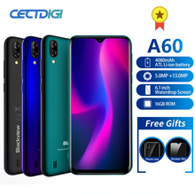 Blackview A60 Smartphone Quad Core Android 8.1 4080mAh téléphone portable 1GB + 16GB 6.1 pouces 19.2:9 écran double caméra 3G téléphone portable