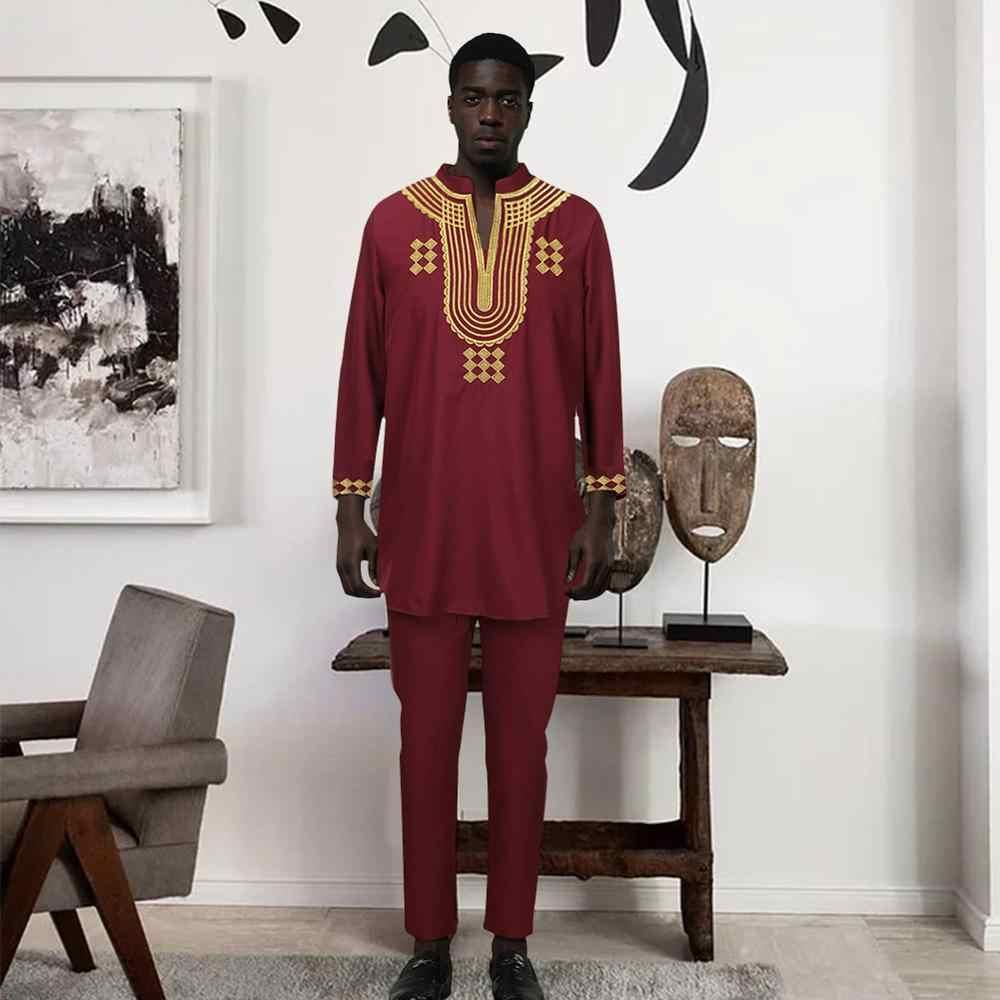 Conjunto de pantalón Fadzeco Dashiki para hombre, conjunto de 2 piezas, ropa africana para hombre 2019, ropa africana para hombre, camisa con pantalón