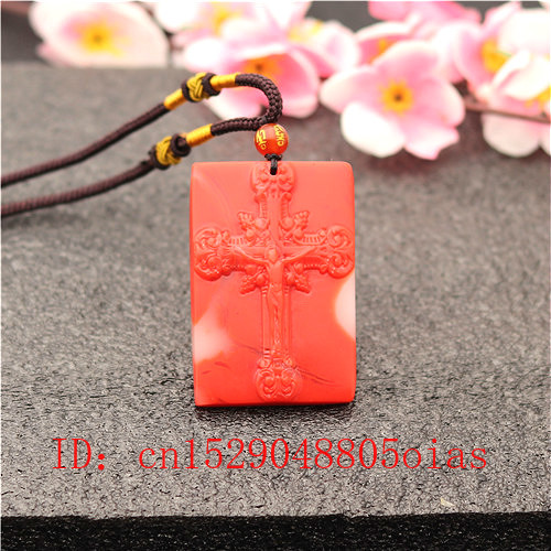 Natural Red White Hetian Jade Stone Cross Pendant Necklace Chinese Jadeite Jewelry Charm Carved Jesus Amulet Gifts For Women Men