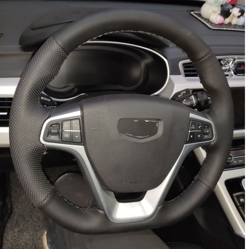 Cowhide Top Layer Leather handmade Sewing Steering wheel covers protect For <font><b>Geely</b></font> EMGRAND 7 EMGRAND X7 <font><b>Atlas</b></font> NL-3 <font><b>NL3</b></font> borui image