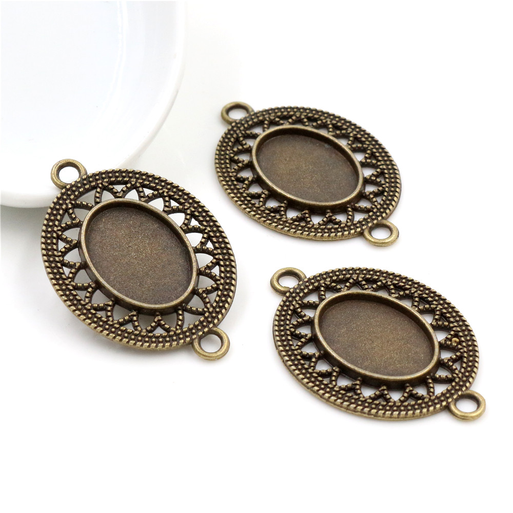 4pcs 13x18mm Inner Size Bronze Simple Style Cameo Cabochon Base Setting Charms Pendant Necklace Findings  (D4-14)