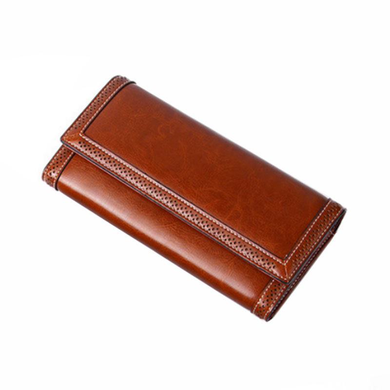 Genuine Leather Women Wallets Women Purses Luxury Designer Female Wallets Long Coin Purse  Phone Pocket Ladies Purse Trifold