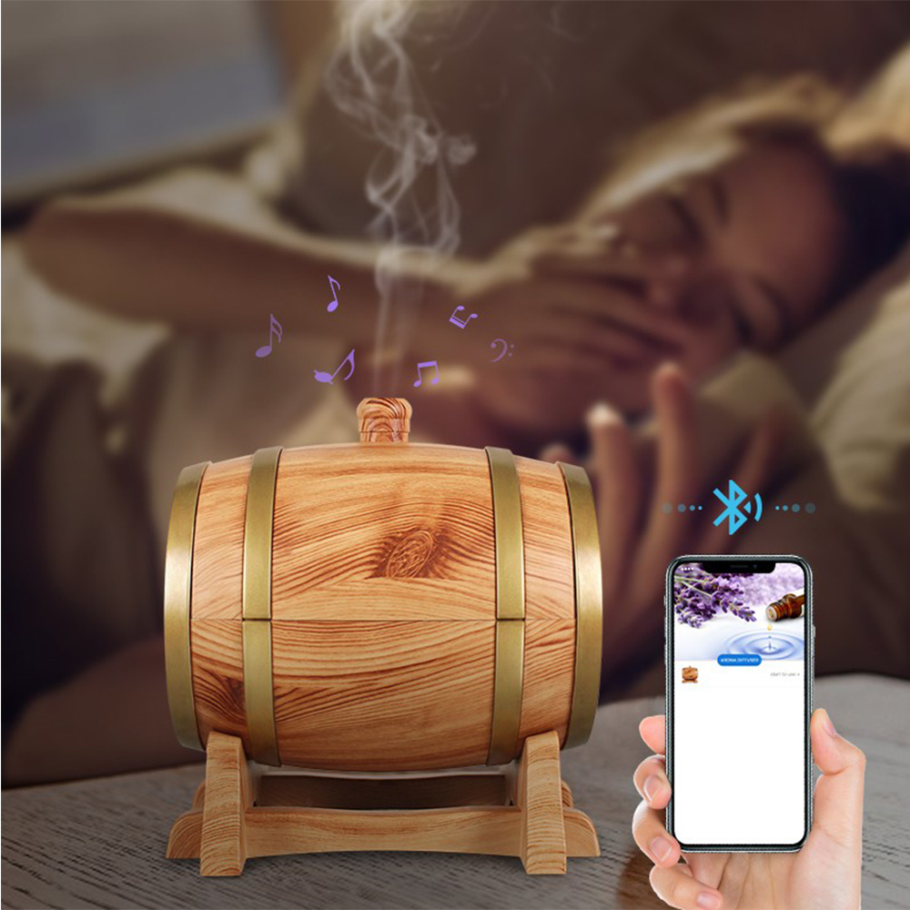 350 ml Barrel Shape Bluetooth Aroma Oil Diffuser Aromatherapy Ultrasonic Air Humidifier for Room Bedroom Car Kids Baby