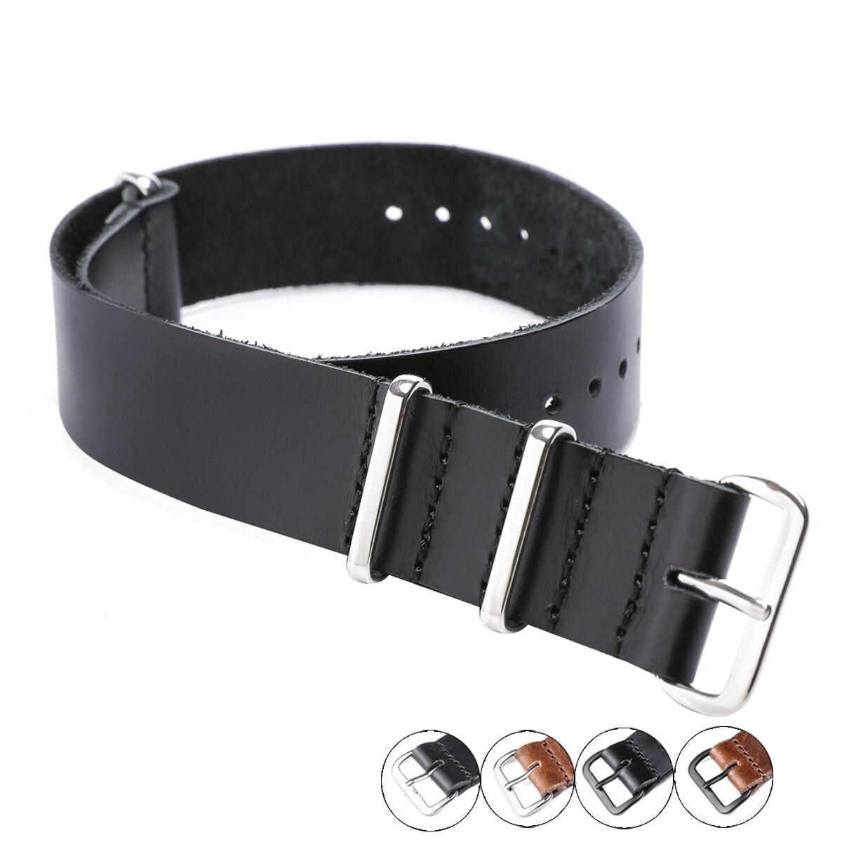 Ремешок для часов из натуральной кожи с серебристой и черной пряжкой