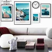 Cuadro de Estilo Anime de ciudad famosa con ilustración de paisaje Natural, cuadro de lona Olímpica de Bali, arte de pared para decoración del hogar