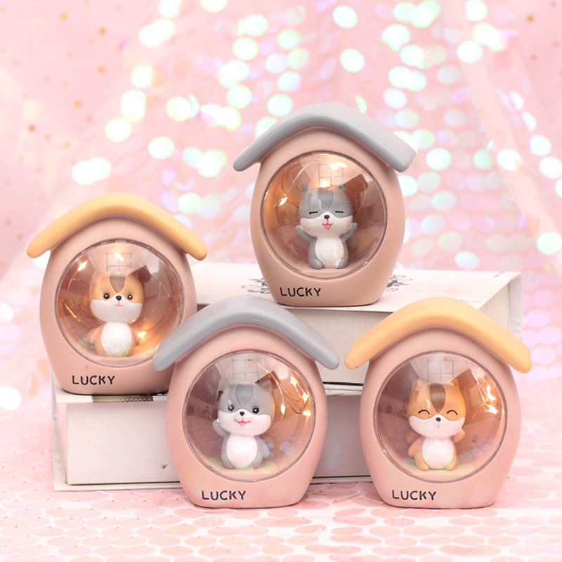 Nursery Baby Bedside Lights LED Resin Cartoon Squirrel Night Light Bedroom Decoration Crafts Ornaments Xmas Gift For Children