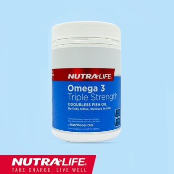 NutraLife Triple Strength Omega 3 Odourless Fish Oil 150 Capsules High DHA EPA for Heart Health Circulation Joint Mobility Brain image