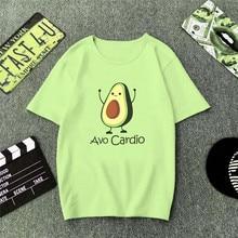 ZOGAA Green T Shirt Women Cartoon Avocado Print Graphic Vegan Tshirt Cute Casual Basic T-Shirt Summer 2019 Funny Top Female avocado print t shirt