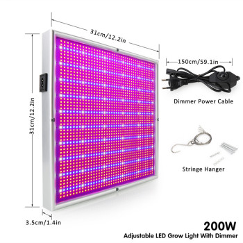 200W Plants Grow Light Panel LED Full Spectrum Indoor Hydroponics Greenhouse Cultivation Growth Lamp For Plants Flowers Dimmable 1