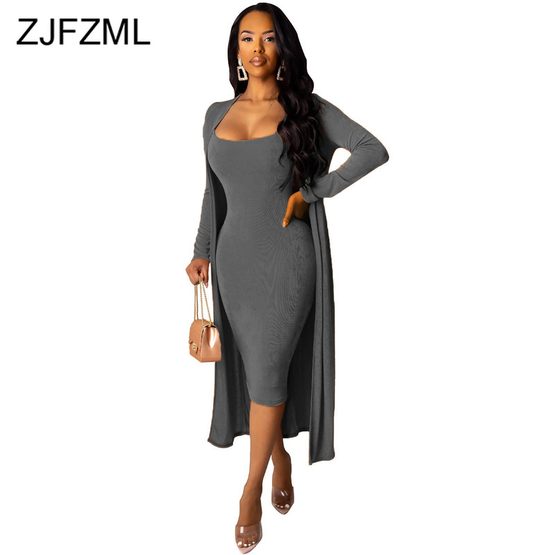 Autumn Winter Velvet Two Piece Outfits Women Spaghetti Strap Bandage Dress And Long  Sleeve Maxi Open Stitch Casual Tracksuits