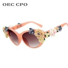 Fiore Charming di Modo Dell'occhio di Gatto Occhiali Da Sole Donne Oculos occhiali da sole Occhi di Gatto Dell'annata Occhiali Del Progettista di Marca Degli Uomini Degli Occhiali Shades UV400 O259