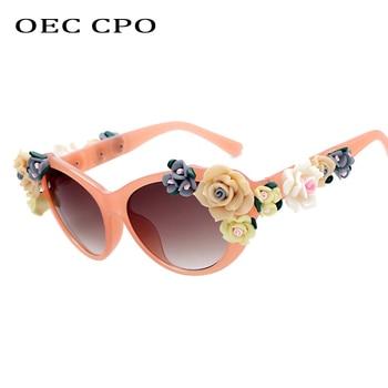 Charming Flower Fashion Cat Eye Sunglasses Women Oculos Vintage Eyes Glasses Brand Designer Men Eyeglasses Shades UV400 O259