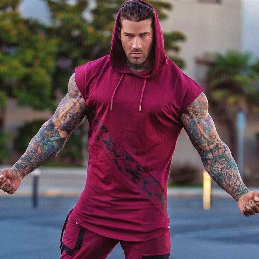 Men's Bodybuilding Vest Sleeveless Hoodie Summer Gym Fitness Exercise Casual Fashion Undershirt Vest Crossfit Clothing