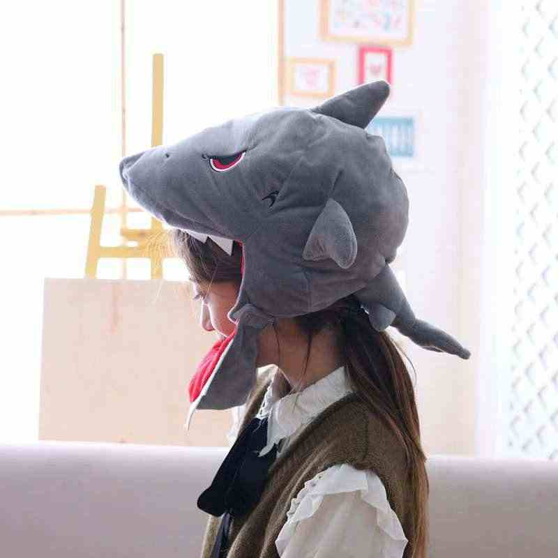 Plush Funny Shark Hat  Coronet Headgear Dinosaur COS Headgear Plush Toy Doll Christmas Gift