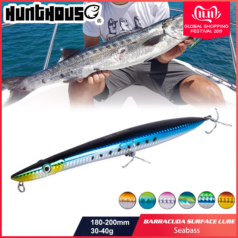 Hunthouse <font><b>fishing</b></font> <font><b>lure</b></font> <font><b>Barracuda</b></font> surface <font><b>lure</b></font> 180mm/30g 200mm/40g long casting pencil stickbait floating pesca image
