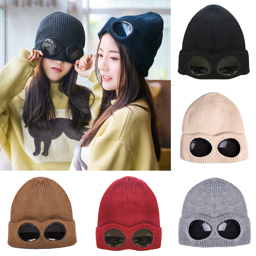 Cycling Cap Hat Women Man Wool Knitted Goggles Beanie Leisure Thermal Warm Autumn Winter Hat Sports Caps