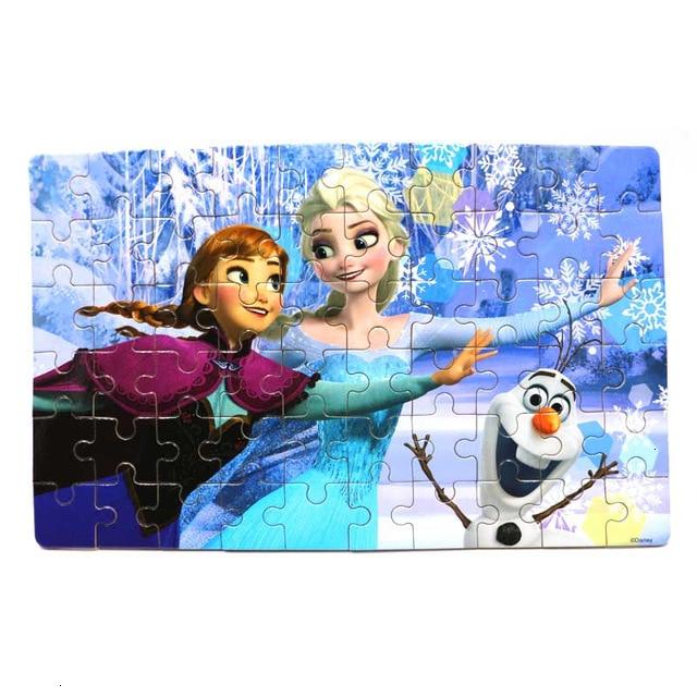 Disney 60 Piece Princess Frozen Wooden Box Puzzle Early Education Children Bottom Box Puzzle Birthday Toys Intelligence Puzzle 15