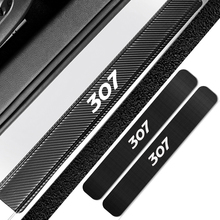 4PCS Car Door Sill Scuff Plate Stickers For Peugeot 307 Auto Carbon Fiber Anti Scratch Protector Decals Car Tuning Accessories
