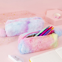 Kawaii Creative pencil case gradient color cute girl plush octagonal pen bag girl student storage bag school supplies for girls