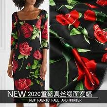 2020 spring and summer new silk stretch satin digital printing heavy silk rose clothing handmade cloth for dress shirt fashion