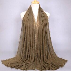 Image 3 - Foulard Hijab en coton pour femmes musulmanes, doux froissé, Long châle, étole islamique, foulards à la mode