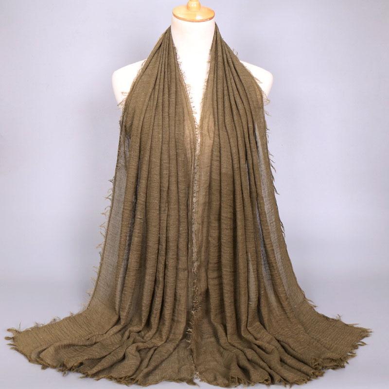 Image 3 - Women Muslim Plain Soft Crinkle Cotton Hijab Scarf Long Shawl  Islamic Wrap Stole Female Scarves Fashion Headscarf Hijabs  MufflerWomens Scarves