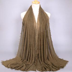 Image 3 - Women Muslim Plain Soft Crinkle Cotton Hijab Scarf Long Shawl Islamic Wrap Stole Female Scarves Fashion Headscarf Hijabs Muffler