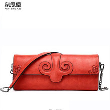 NAISIBAO 2019 New women bag genuine leather brands fashion quality Head layer cowhide embossed retro wallet Clutch