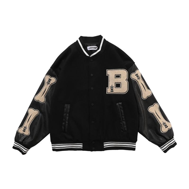 Hip Hop Baseball Jacket Men Furry Bone Letter Patch Color Leather Sleeve College Style Streetwear Harajuku Bomber Jacket Coat