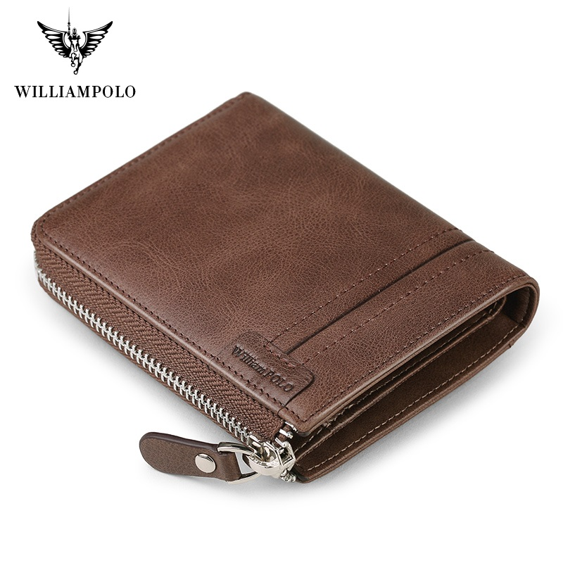 WilliamPolo Full-Grain Leather Short Wallet For Men Fashion Vintage Credit Card Holder Coin Purses Business Cowhide