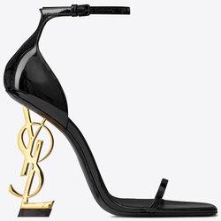 US4-11 пикантные женские Клубные туфли из лакированной кожи с открытым носком на высоком необычном каблуке; босоножки с пряжкой; большие разме...