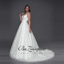 Baziiingaaa роскошное кружевное свадебное платье с v образным