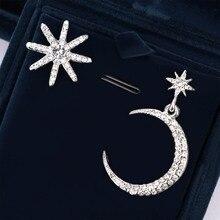 Fashion Star Moon Pendant Asymmetric Stud Earrings Women Drop  Ear Jewelry