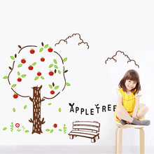Cute Apple tree Wall Sticker for kids baby room living room bedroom background decoration Mural Wallpaper nursery stickers(China)