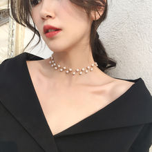 Женское Ожерелье чокер с жемчугом и черными кристаллами