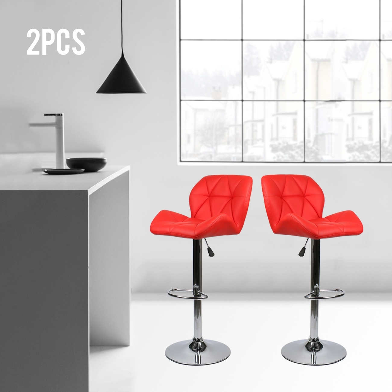 Set Of 2 Leather Bar Stool Adjustable Seat Counter Height Chair Dining Swivel Red