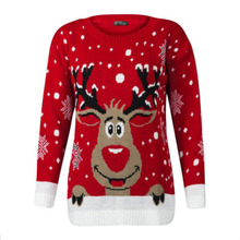цена на Ladies Casual Pullover Large Size Christmas Sweater Ugly Deer Warm Loose Long Sleeve Knit Sweater O-Neck Santa Bottoming Sweater
