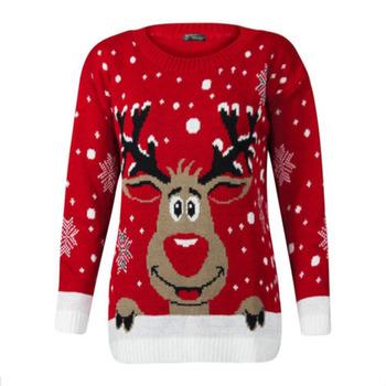 Panie luźny pulower duży rozmiar boże narodzenie sweter brzydkie Deer ciepłe luźne z długim rękawem sweter z dzianiny O-Neck Santa najniższy sweter tanie i dobre opinie Liva girl Polyester knitwear Poliester Mikrofibra Elastan Kobiety Mieszkanie dzianiny Pełna Zwierząt REGULAR NONE STANDARD