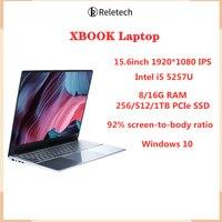 Reletech portátil Intel I5-5257U 15,6 pulgadas ordenador portátil para jugador 8/16GB RAM 256G/512G/1TB PCIe SSD portátiles Oficina PC ordenador portátil