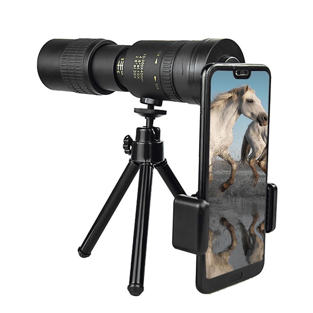 Tool - 4K 10-300X40MM Super Telephoto Zoom Monocular Telescope Waterproof for Smart Phones Bird Watching/ Hunting/ Camping